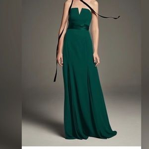 V wire strapless Vera Wang forest green